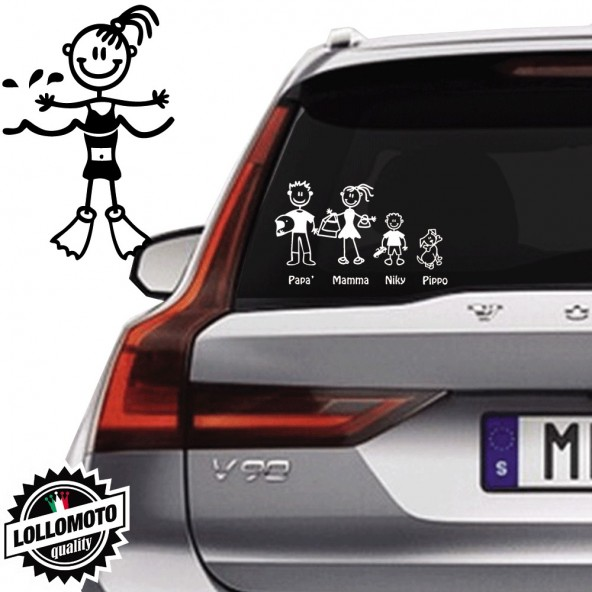 Bimba Con Pinne Vetro Auto Famiglia StickersFamily Stickers Family Decal