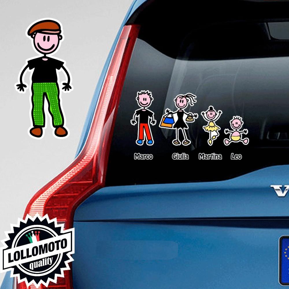 Nonno Con Cappello Adesivo Vetro Auto Famiglia Stickers