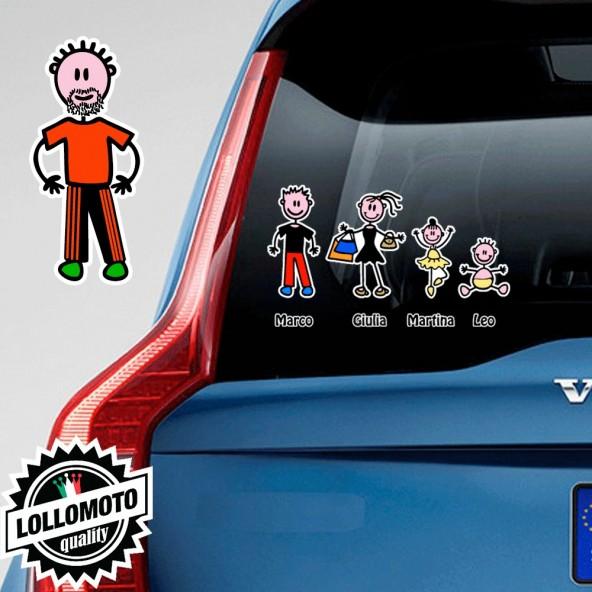 Nonno Con Barba Adesivo Vetro Auto Famiglia Stickers Colorati