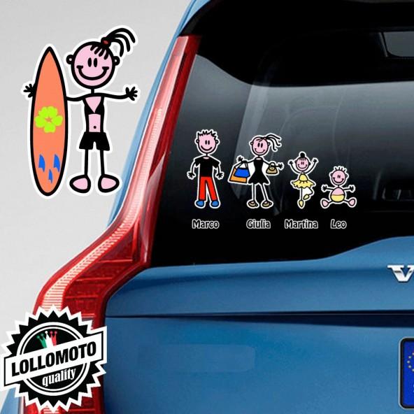 Ragazza Con Surf Adesivo Vetro Auto Famiglia Stickers Colorati