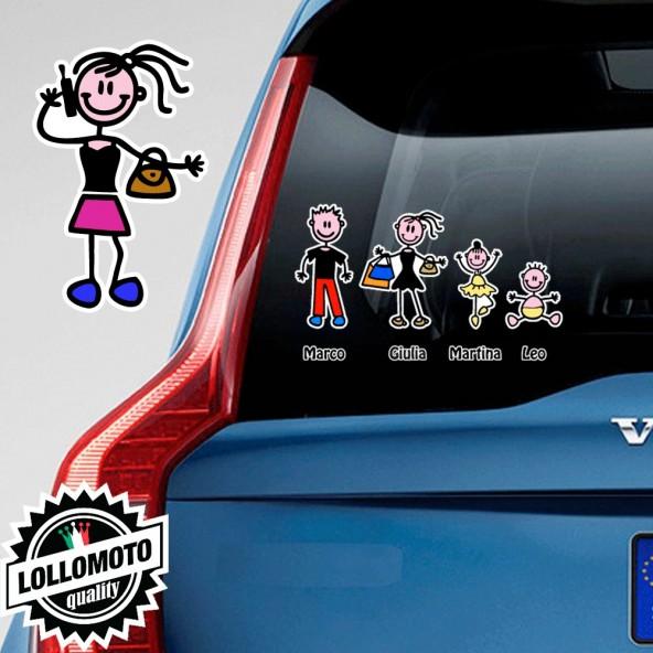 Ragazza con Borsa e Cellulare Balla Adesivo Vetro Auto Famiglia