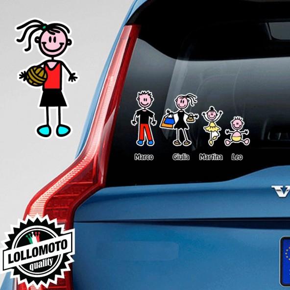 Ragazza Pallavolo Adesivo Vetro Auto Famiglia Stickers Colorati