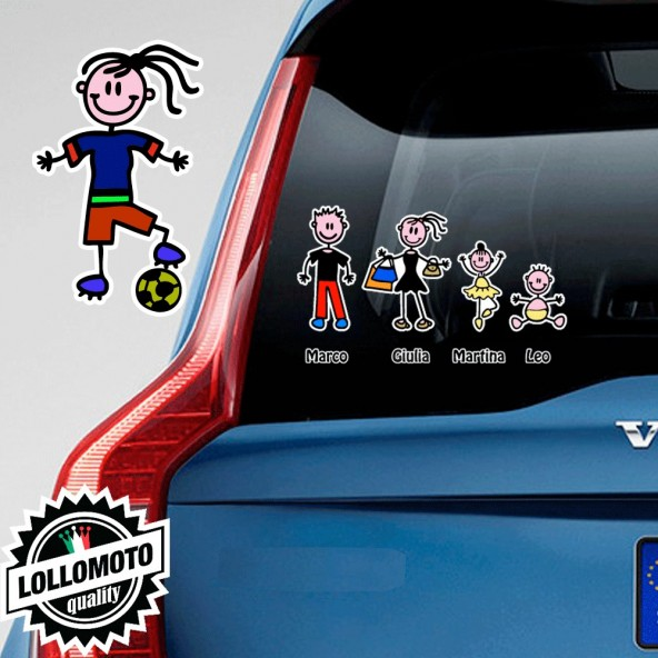 Ragazza Calciatore Adesivo Vetro Auto Famiglia Stickers Colorati Family Stickers Family Decal