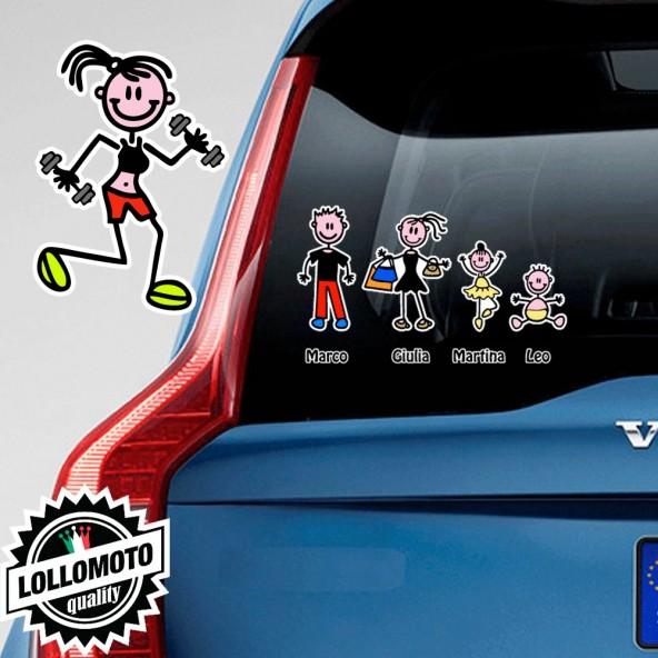 Ragazza Con Pesi Adesivo Vetro Auto Famiglia Stickers Colorati