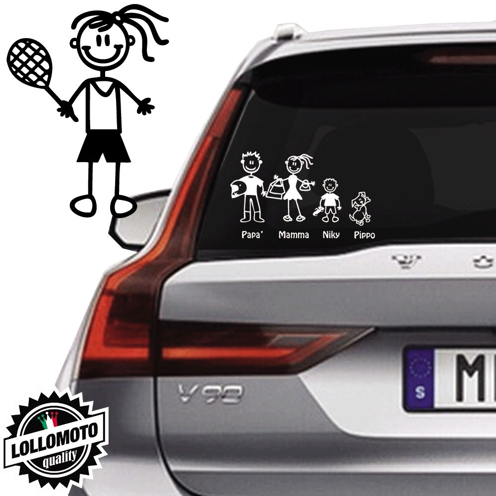Bimba Tennis Vetro Auto Famiglia StickersFamily Stickers Family