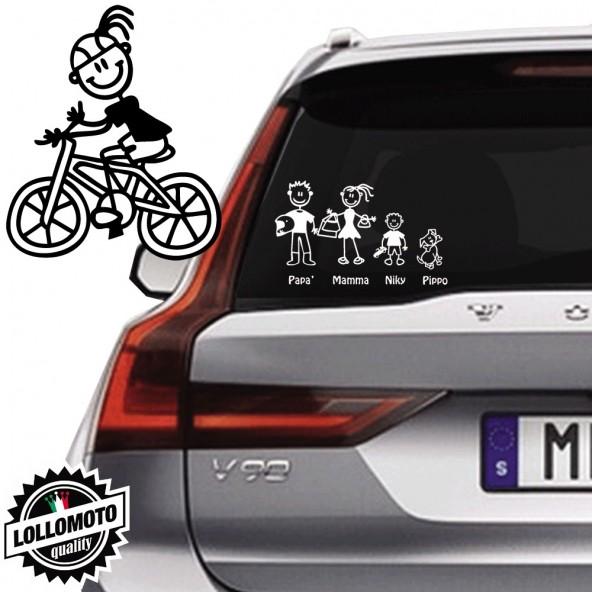 Bimba Ciclista Vetro Auto Famiglia StickersFamily Stickers Family Decal