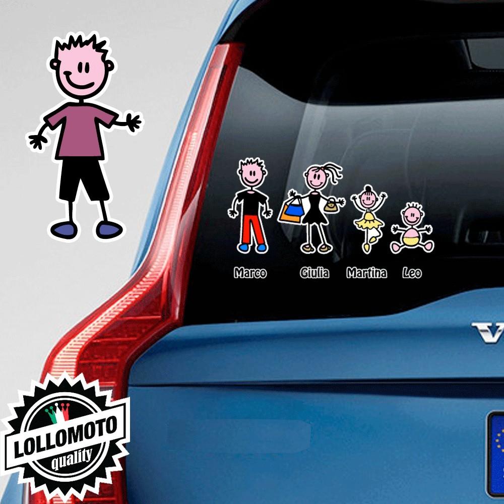 Ragazzo Con Pantaloncini e TShirt Adesivo Vetro Auto Famiglia