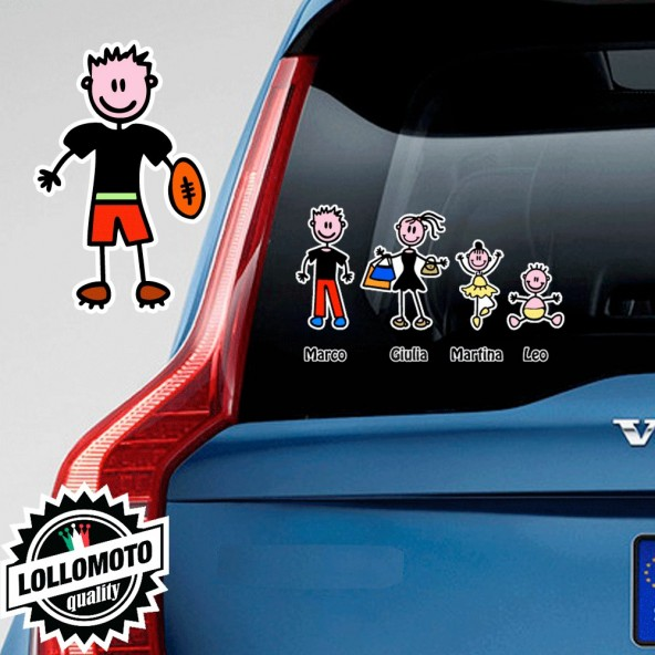 Ragazzo Con Pallone da Rugby Adesivo Vetro Auto Famiglia Stickers Colorati Family Stickers Family Decal