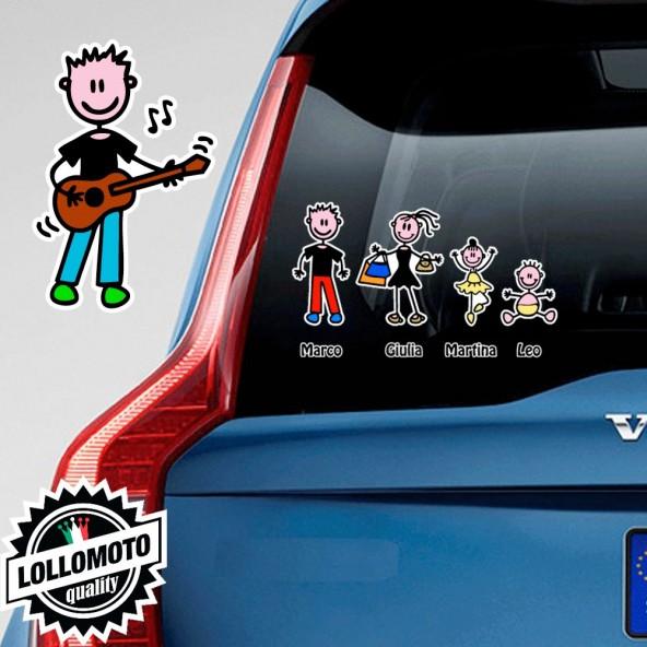 Ragazzo Che Suona La Chitarra Adesivo Vetro Auto Famiglia Stickers Colorati Family Stickers Family Decal