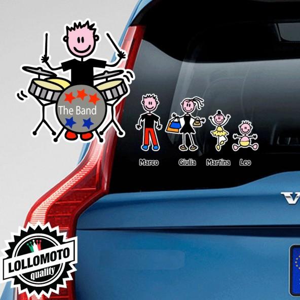 Ragazzo Che Suona La Batteria Adesivo Vetro Auto Famiglia Stickers Colorati Family Stickers Family Decal