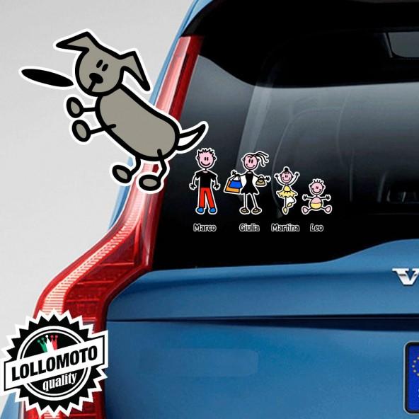 Cane Che Salta Adesivo Vetro Auto Famiglia Stickers Colorati