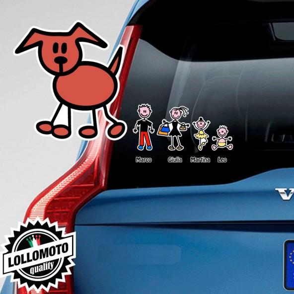Cane Che Cammina Adesivo Vetro Auto Famiglia Stickers Colorati