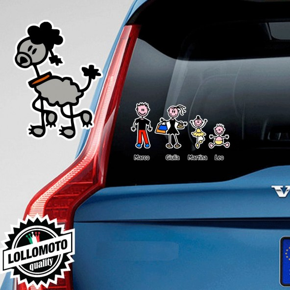 Cane Barboncino Adesivo Vetro Auto Famiglia Stickers Colorati Family Stickers Family Decal