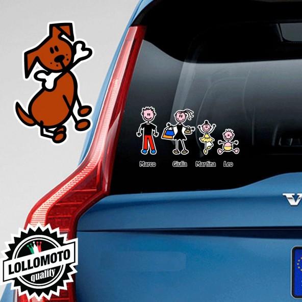 Cane con Osso Adesivo Vetro Auto Famiglia Stickers Colorati Family Stickers Family Decal