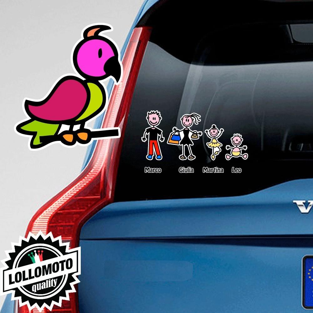 Uccellino Rivolto a Destra Adesivo Vetro Auto Famiglia Stickers