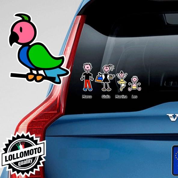 Uccellino Rivolto a Sinistra Adesivo Vetro Auto Famiglia Stickers Colorati Family Stickers Family Decal