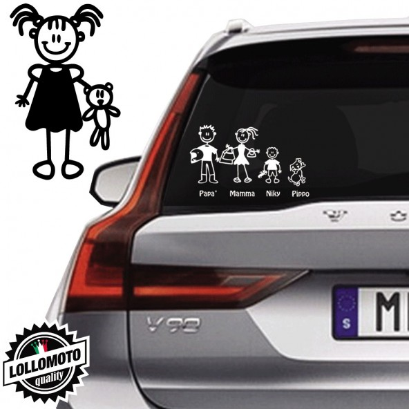 Bimba Con Bambolotto Vetro Auto Famiglia StickersFamily Stickers Family Decal
