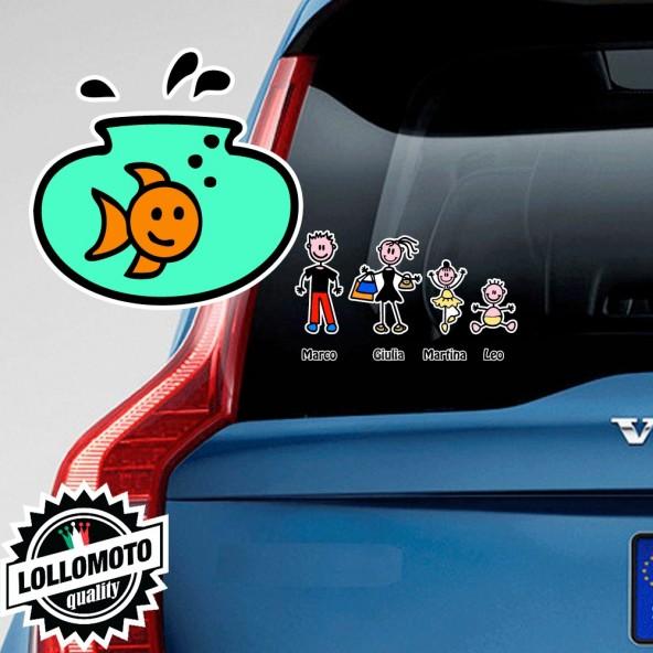 Vaso con Pesce Adesivo Vetro Auto Famiglia Stickers Colorati