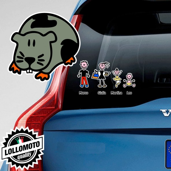 Porcellino d'India Adesivo Vetro Auto Famiglia Stickers Colorati Family Stickers Family Decal