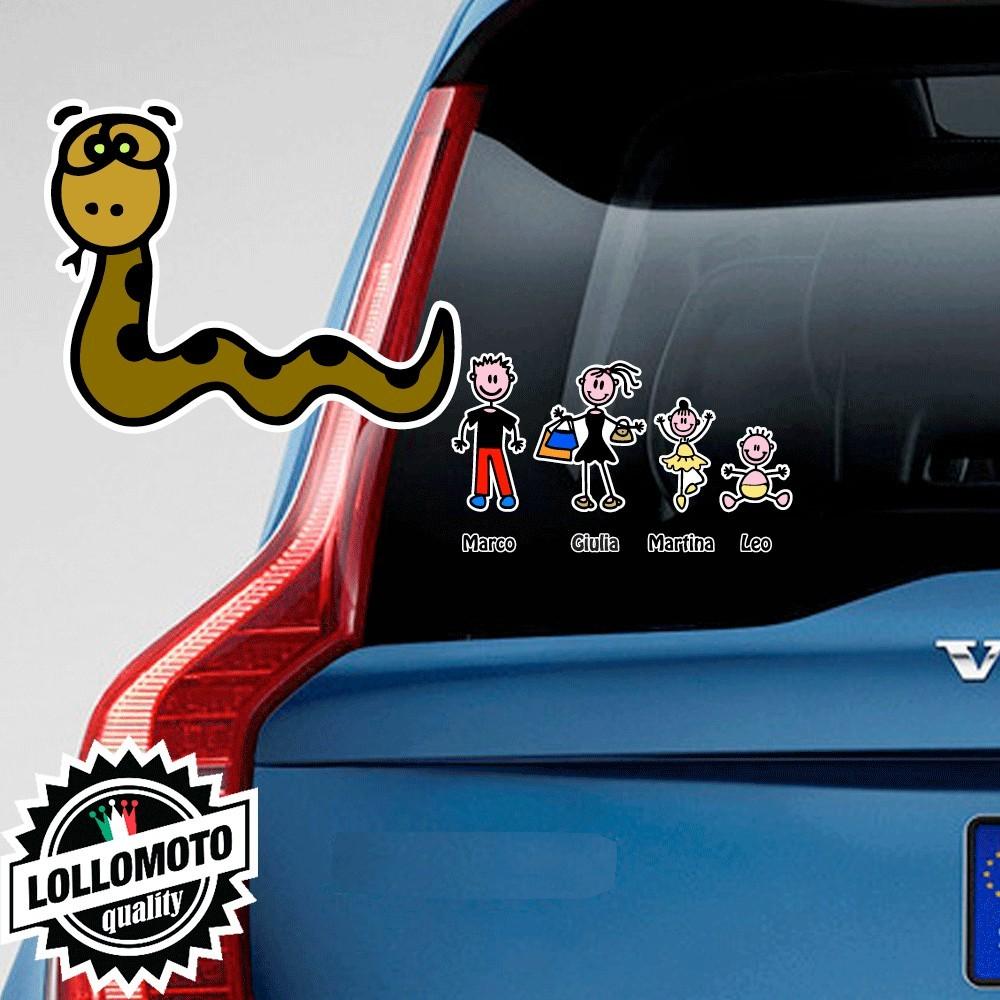 Serpente Adesivo Vetro Auto Famiglia Stickers Colorati Family