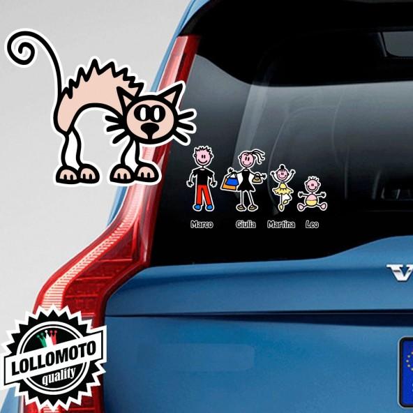 Gatto Adesivo Vetro Auto Famiglia Stickers Colorati Family