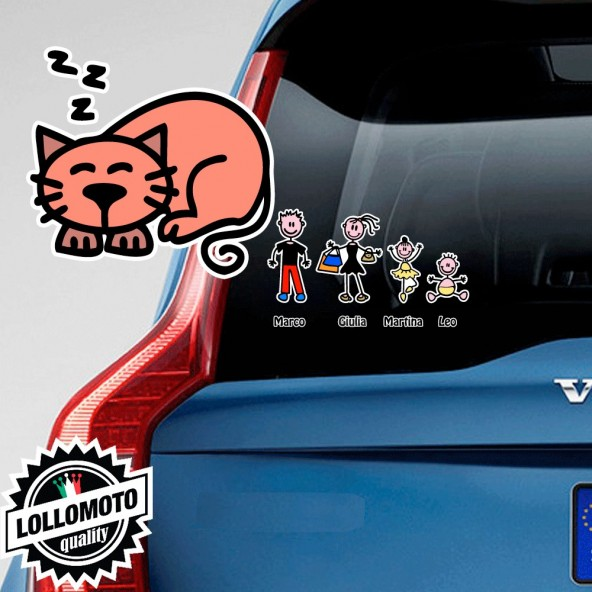 Gatto che Dorme Adesivo Vetro Auto Famiglia Stickers Colorati Family Stickers Family Decal