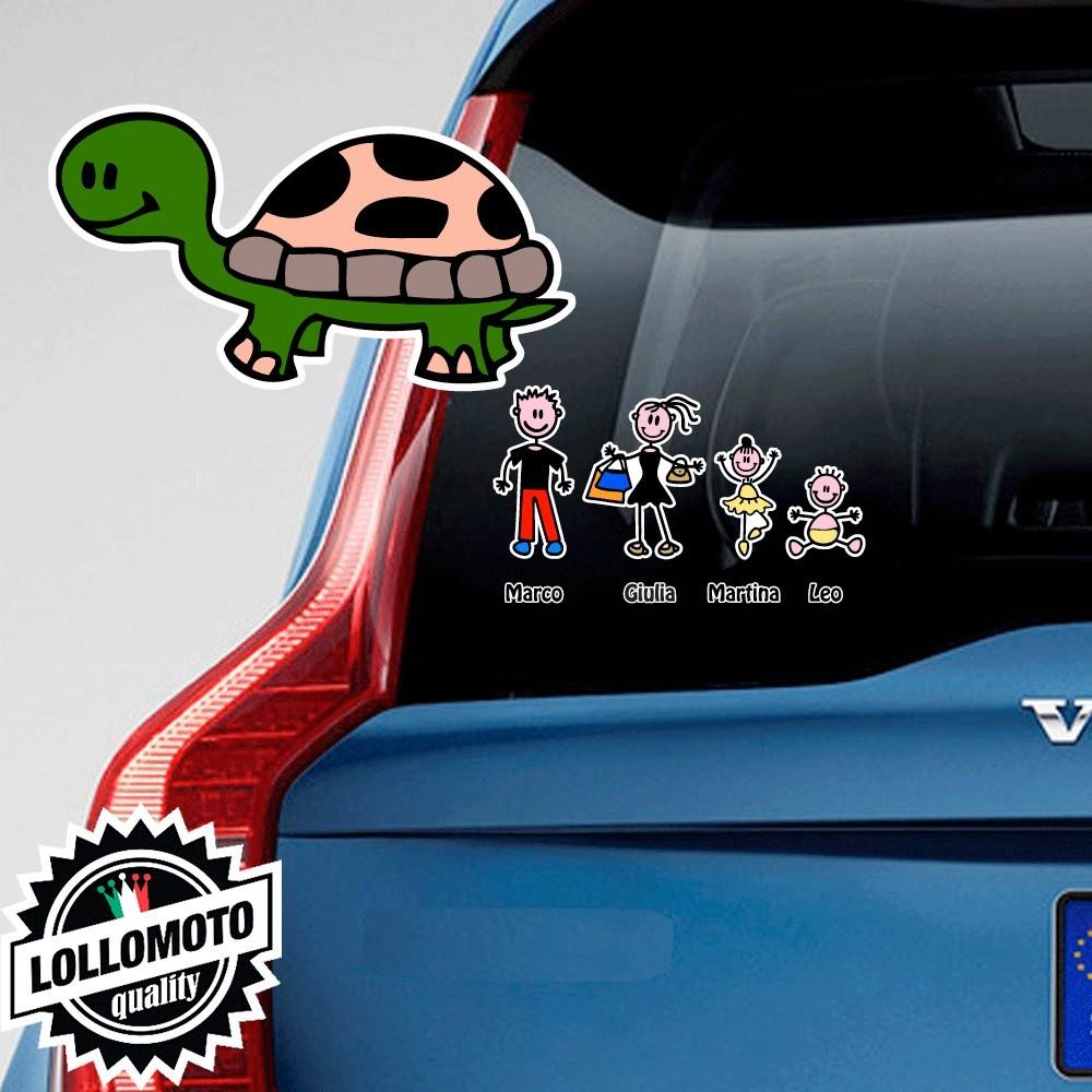 Tartaruga Adesivo Vetro Auto Famiglia Stickers Colorati Family