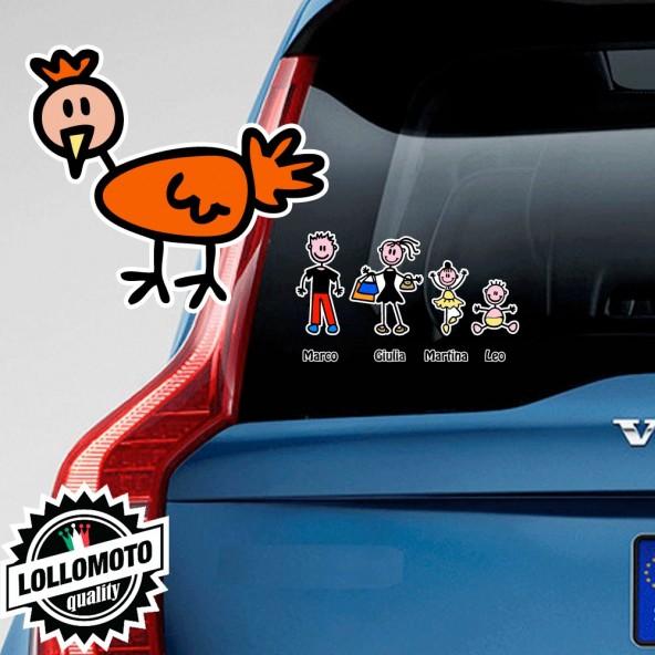 Gallina Adesivo Vetro Auto Famiglia Stickers Colorati Family