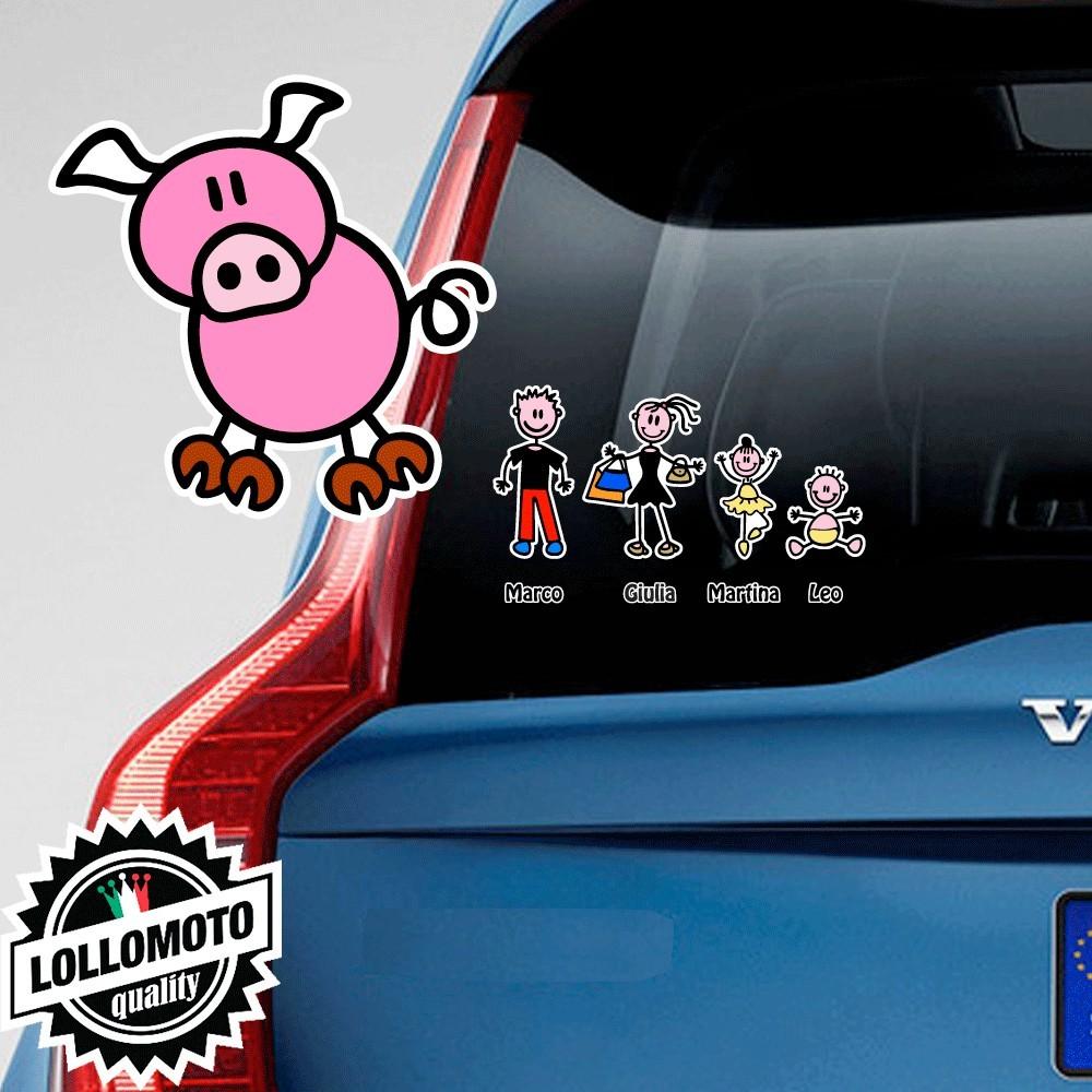 Maiale Adesivo Vetro Auto Famiglia Stickers Colorati Family