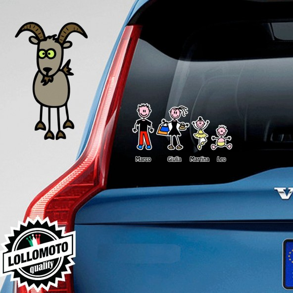 Capra Adesivo Vetro Auto Famiglia Stickers Colorati Family Stickers Family Decal