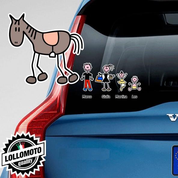 Cavallo Adesivo Vetro Auto Famiglia Stickers Colorati Family