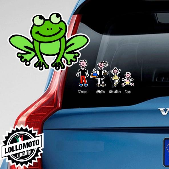 Rana Adesivo Vetro Auto Famiglia Stickers Colorati Family
