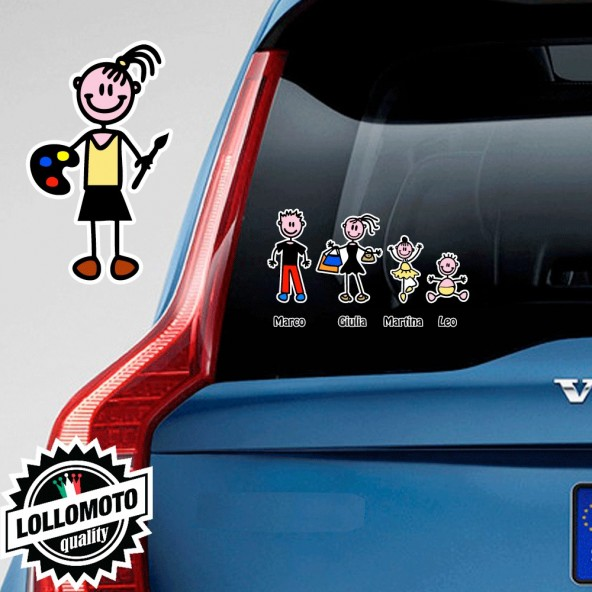 Bimba Pittrice Adesivo Vetro Auto Famiglia Stickers Colorati Family Stickers Family Decal