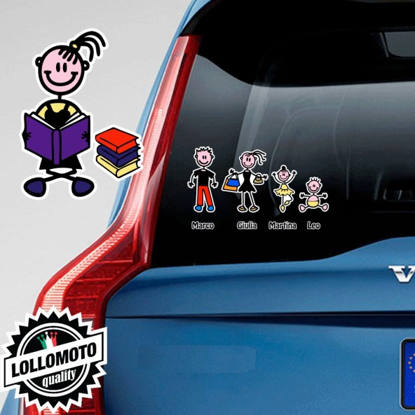 Bimba Con Libri Adesivo Vetro Auto Famiglia Stickers Colorati
