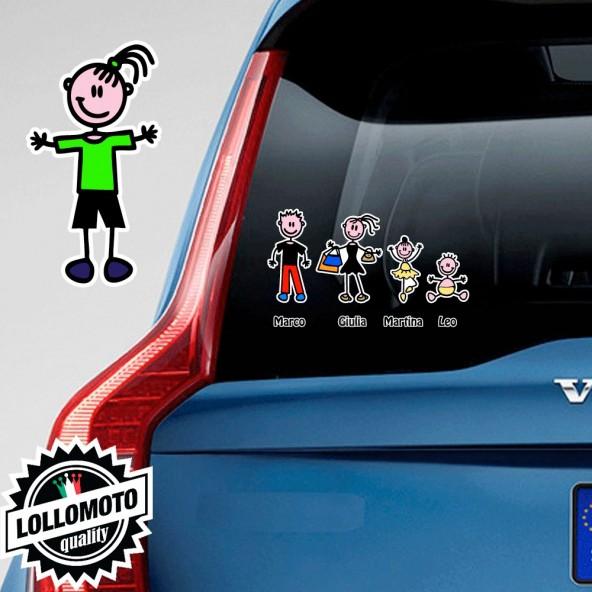 Bimba Pantaloni Adesivo Vetro Auto Famiglia Stickers Colorati