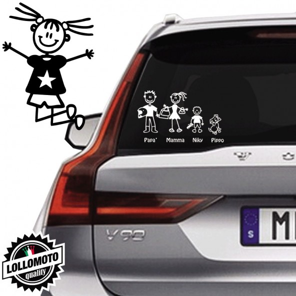 Bimba Che Salta Vetro Auto Famiglia StickersFamily Stickers Family Decal