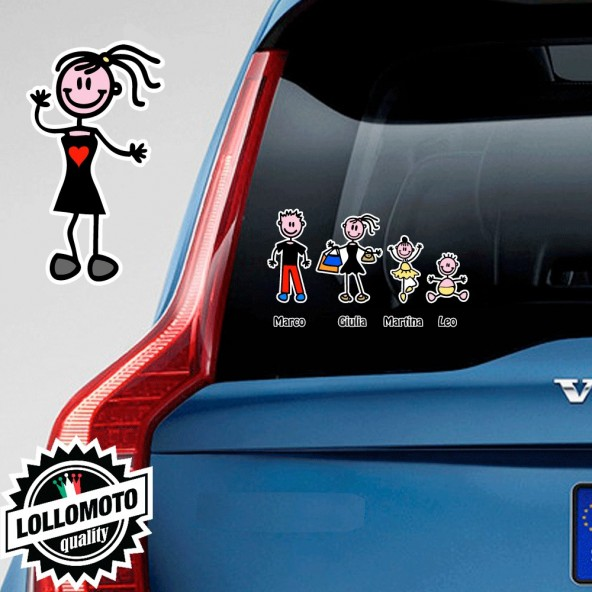 Bimba Vestito Adesivo Vetro Auto Famiglia Stickers Colorati Family Stickers Family Decal