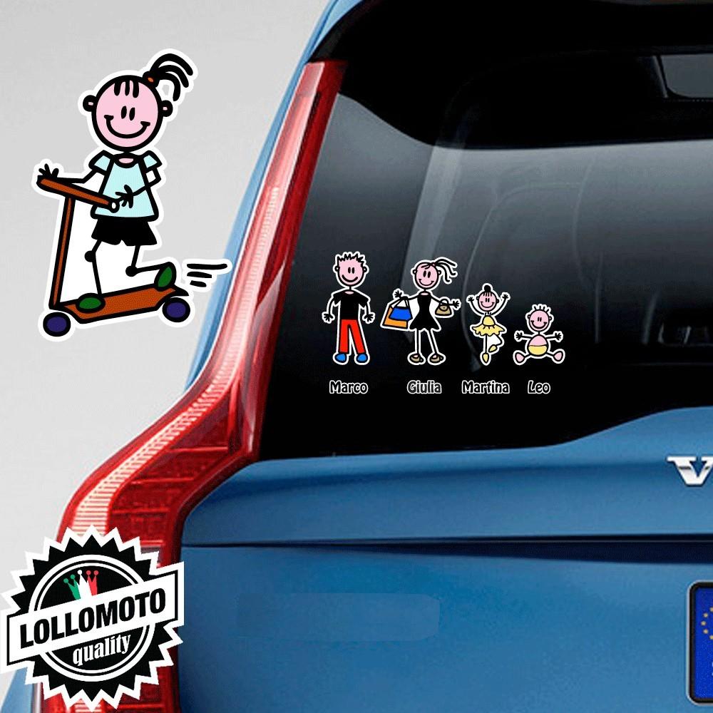 Bimba Con Monopattino Adesivo Vetro Auto Famiglia Stickers
