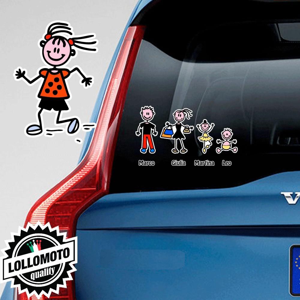 Bimba Che Corre Adesivo Vetro Auto Famiglia Stickers Colorati