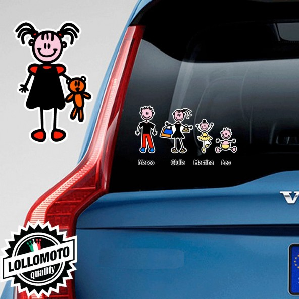 Bimba Con Bambolotto Adesivo Vetro Auto Famiglia Stickers Colorati Family Stickers Family Decal