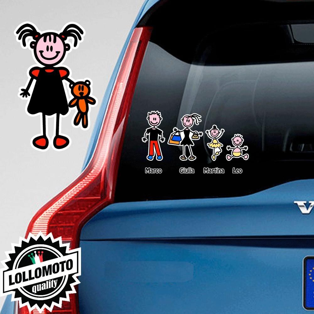 Bimba Con Bambolotto Adesivo Vetro Auto Famiglia Stickers