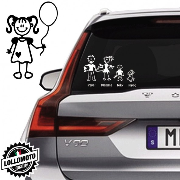 Bimba Con Palloncino Vetro Auto Famiglia StickersFamily Stickers Family Decal