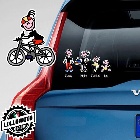 Bimba Ciclista Adesivo Vetro Auto Famiglia Stickers Colorati