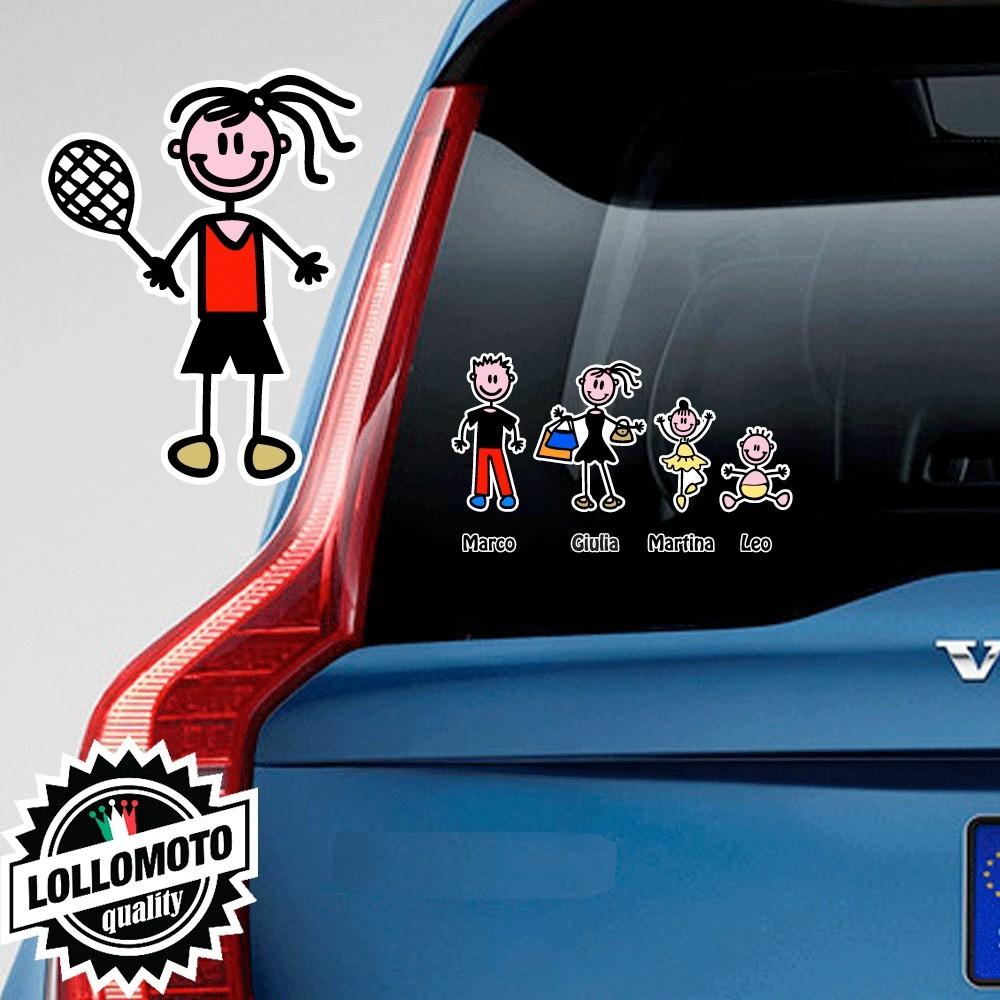 Bimba Tennis Adesivo Vetro Auto Famiglia Stickers Colorati
