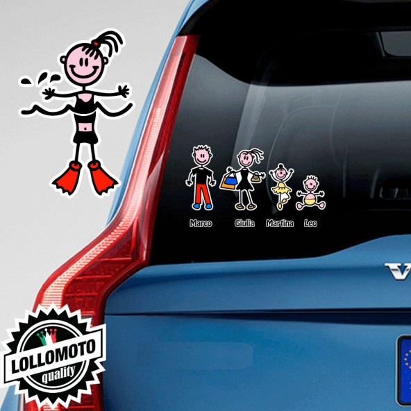 Bimba Con Pinne Adesivo Vetro Auto Famiglia Stickers Colorati Family Stickers Family Decal