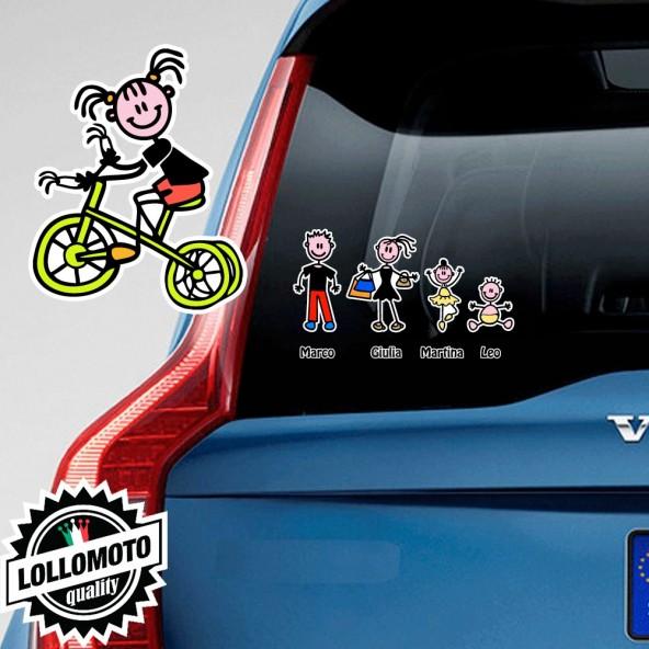 Bimba Con Triciclo Adesivo Vetro Auto Famiglia Stickers Colorati Family Stickers Family Decal