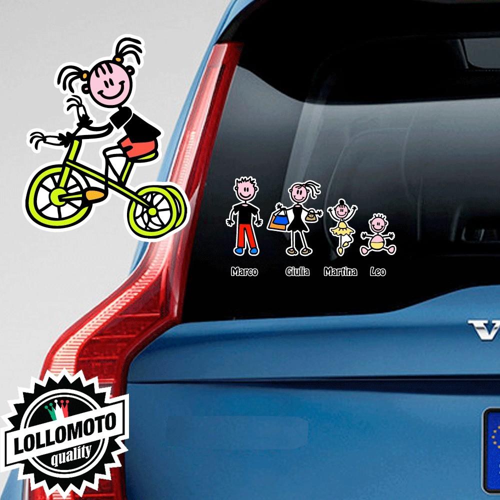 Bimba Con Triciclo Adesivo Vetro Auto Famiglia Stickers