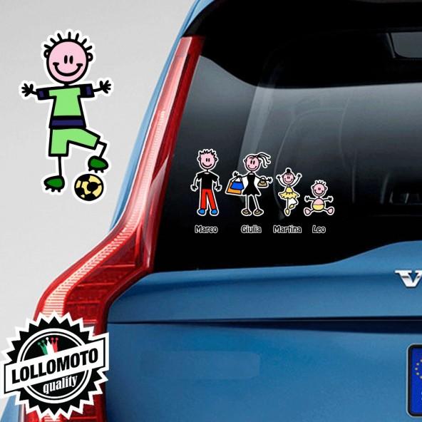 Bimbo Calciatore Adesivo Vetro Auto Famiglia Stickers Colorati