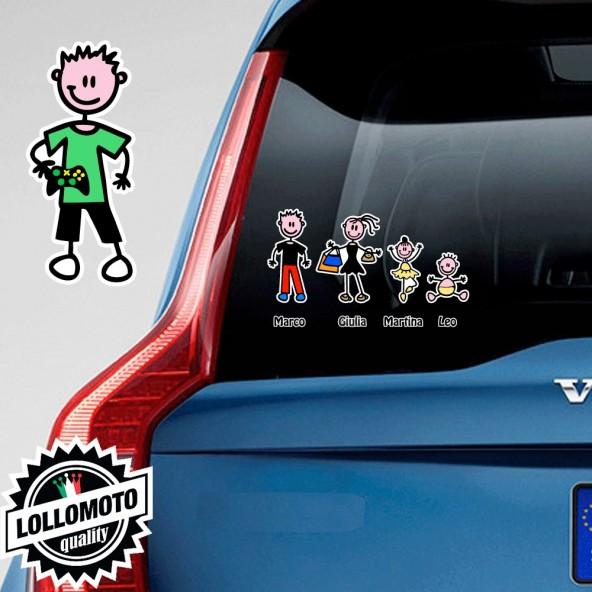 Bimbo Con Joypad Adesivo Vetro Auto Famiglia Stickers Colorati