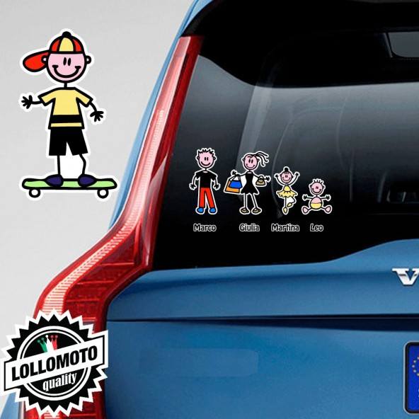 Bimbo Con Skateboard Adesivo Vetro Auto Famiglia Stickers Colorati Family Stickers Family Decal